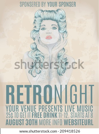 Retro night invitation flyer with rockabilly girl - stock vector
