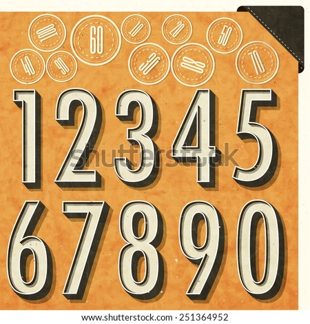 Retro number design. Editable numbers in new vintage style. Vector typography. - stock vector