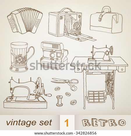 retro objects - stock vector