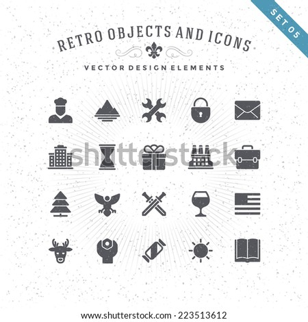 Retro Objects and Icons Vector Design Elements. Signs and Symbols for design: Vintage Logotypes, Business signs, Identity, Labels, Badges and other design.  - stock vector