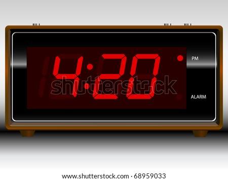 Retro Old School Alarm Clock Vector; Customize your own time - stock vector