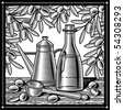 Retro olive oil still life black and white. Vector - stock vector