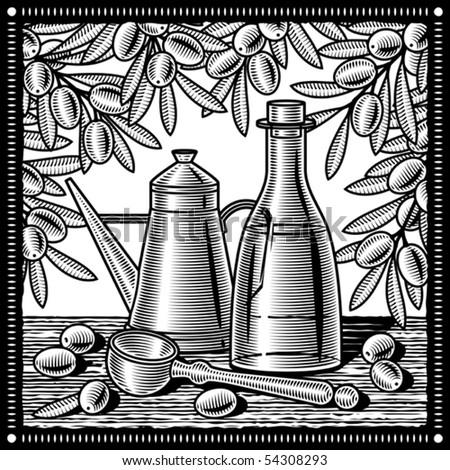 Retro olive oil still life black and white. Vector - stock vector