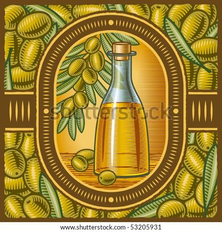 Retro olive oil. Vector - stock vector