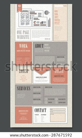 retro one page website design template in flat design