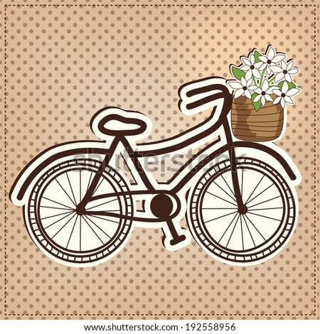 retro or vintage bicycle with a basket full of flowers, with polka dot background, vector format - stock vector