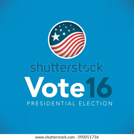 Retro or Vintage Style Red White and Blue Patriotic Vote 16 Presidential Election with Pin Button or Badge.  Use this banner on infographics, blog headers, flyers, or web pages.   - stock vector