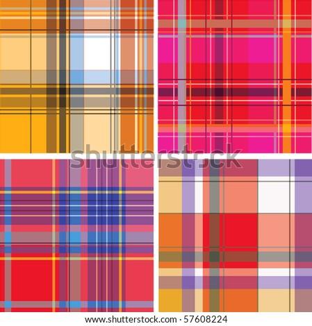 retro orange green brown blue pattern combo (vector) - illustrated pattern - stock vector