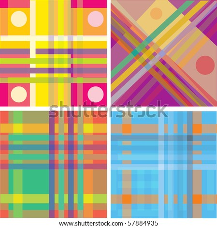 retro orange green brown blue pattern combo (vector) - illustrated pattern - stock vector