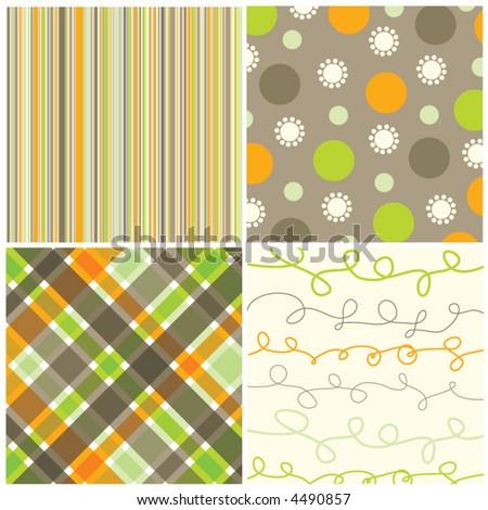 retro orange green brown pattern combo (vector) - illustrated pattern - stock vector