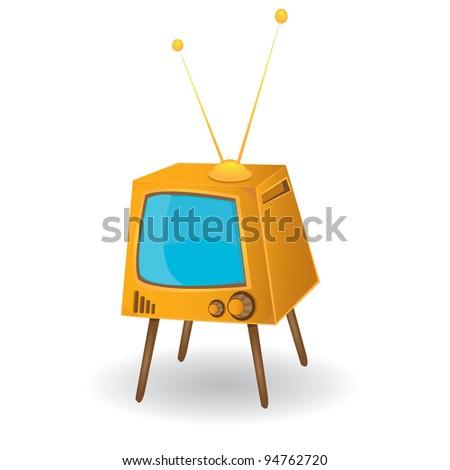 retro orange tv. vector illustration. - stock vector