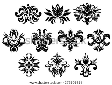 Retro ornamental floral elements of black flowers with dainty inflorescences and lush foliage isolated on white background