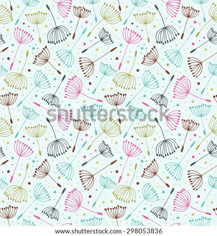 Retro ornate endless pattern. Seamless decorative texture with flowers. Background with fluff - stock vector