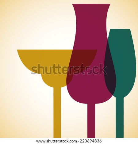 Retro overlay cocktail card in vector format. - stock vector