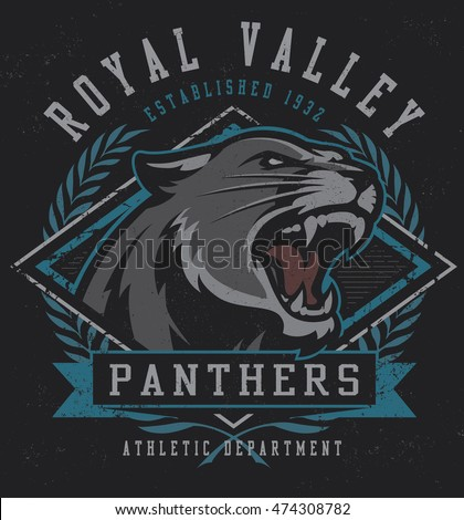 "Retro ""Panthers"" athletic design complete with panther mascot vector illustration, vintage athletic fonts and matching textures (all on separate layers)."