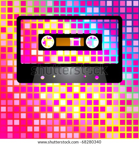 Retro Party Background - Audio Casette Tape on Multicolor Background