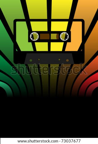 Retro Party Background - audio cassette tape on multicolor background - stock vector