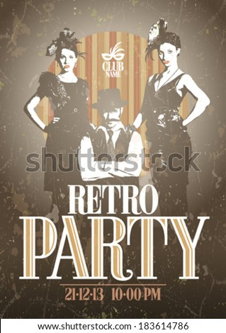 Retro party design with fashion girls and man. Eps10 - stock vector
