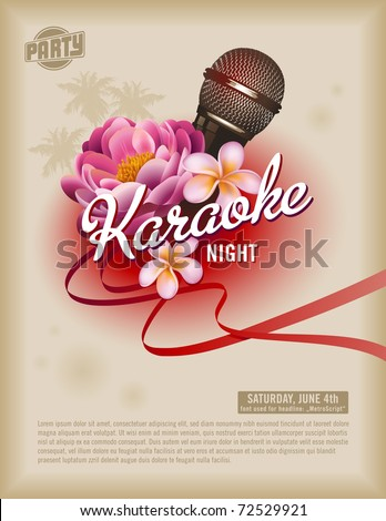 retro party flyer or poster template with microphone and exotic flowers - stock vector
