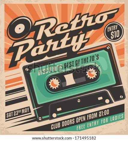 Retro party poster design. Disco music event at night club, vintage party invitation template. - stock vector