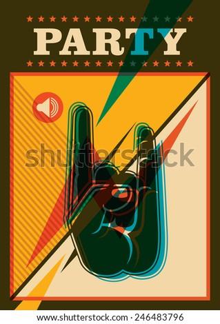 Retro party poster design in color. Vector illustration. - stock vector