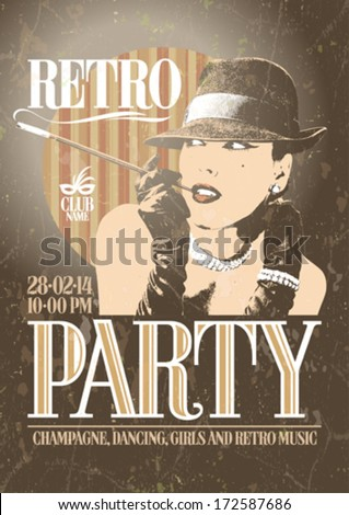 Retro party poster with old-fashioned smoking woman in a hat. EPS10 - stock vector