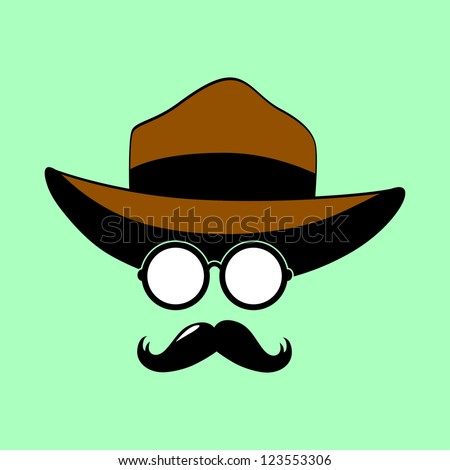 Retro Party set - Sunglasses,  mustaches, hat - stock vector