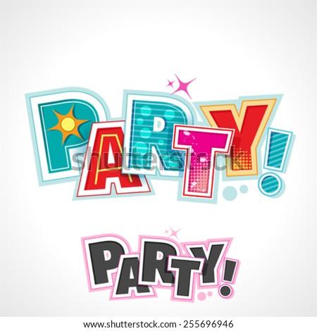 Retro Party Text, Vector Lettering Invitation - stock vector