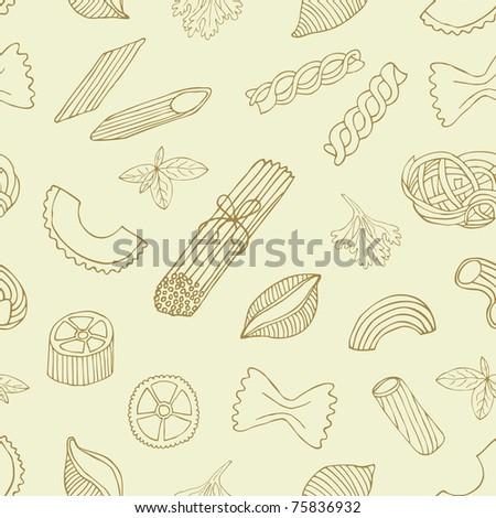 retro pasta seamless background - stock vector