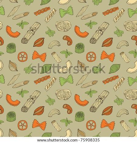 retro pasta seamless pattern - stock vector