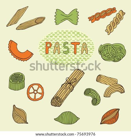 retro pasta set - stock vector