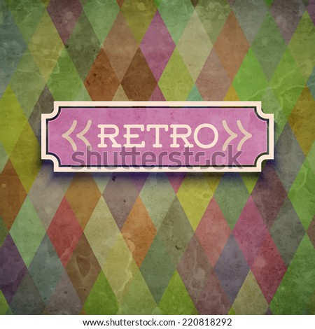 Retro pattern background with label. Vector illustration - stock vector