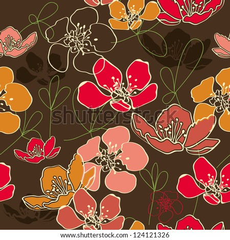 Retro pattern Floral design, elegant wallpaper - stock vector