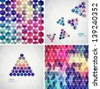 Retro pattern of geometric shapes. Colorful mosaic banners. Geometric hipster retro background with place for your text. Retro triangle background. Set of four geometric templates. - stock vector