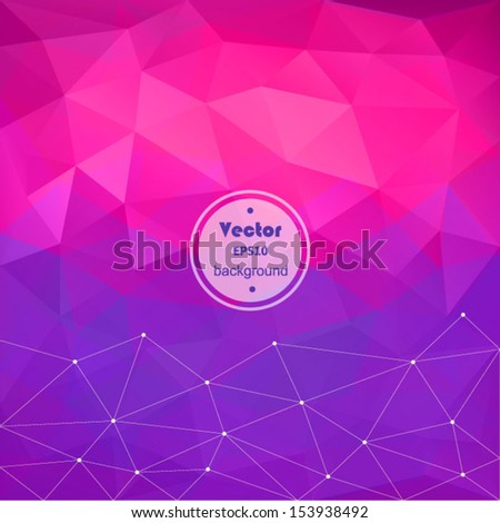 Retro pattern of geometric shapes. Vector abstract polygonal background - pink / purple. Colorful mosaic banner. Geometric hipster retro background with place for your text.Rainbow triangle background - stock vector