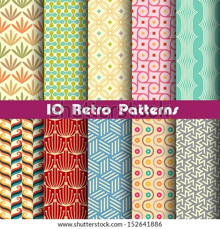 retro patterns collection  2 for making seamless wallpapers - stock vector