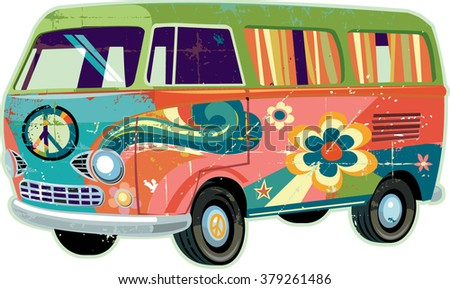 Retro Peace Van - stock vector