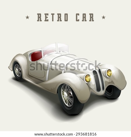 retro pearl white car design isolated on white background - stock vector