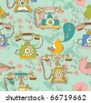 retro phone with birds seamless pattern - stock vector