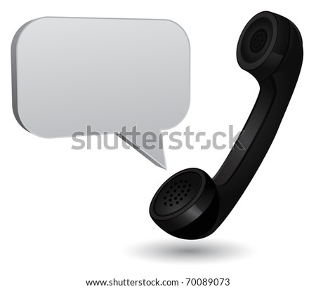 retro phone with chat box - stock vector