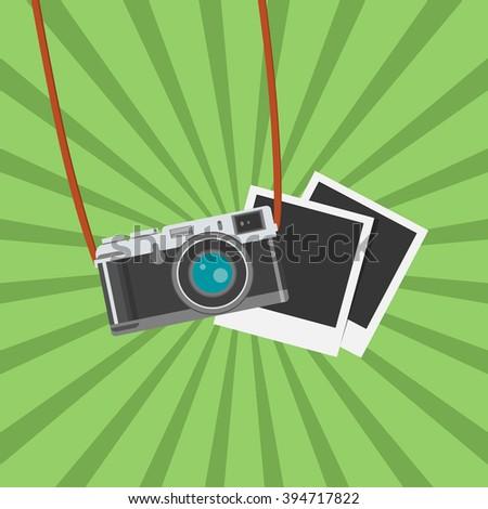 Retro Photo camera icon. Flat design vector illustration.  Camera image. Retro Camera flat icon vector illustration for web design and mobile app isolated on green background. Vector illustration  - stock vector
