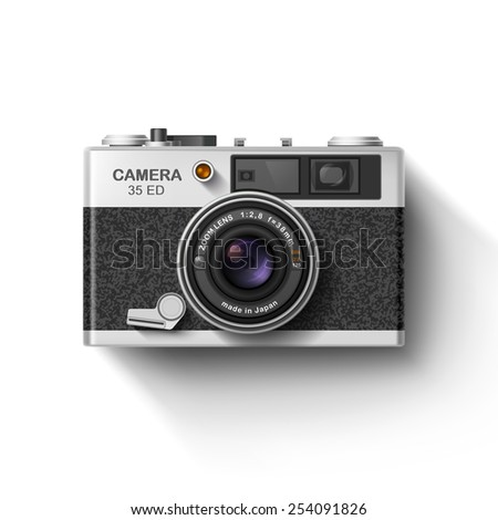 Retro photo camera with shadow isolated on white. Vector illustration - stock vector