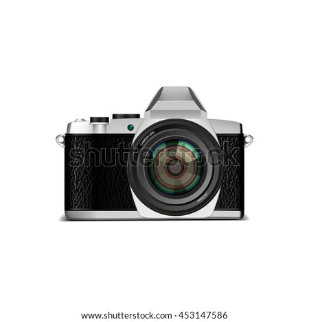 Retro photo camera with shadow isolated on white. Vector illustration