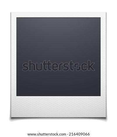 Retro photo frame isolated on white background, polaroid vector illustration - stock vector