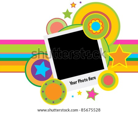 Retro Photo Frame with Circles, Stars, Flowers and Stripes - stock vector