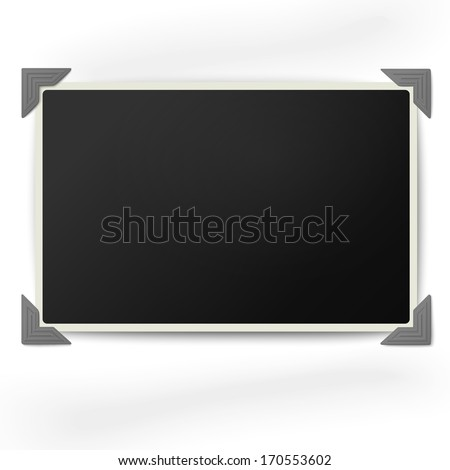 Retro photo frame with straight edges in vintage photo corners isolated on white background - stock vector