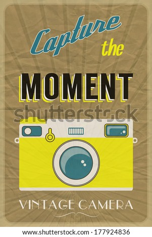 Retro photographic poster with the slogan Capture the Moment, on crumpled brown paper background. EPS10 vector format - stock vector