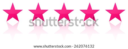 Retro Pink Five Star Product Quality Rating - stock vector