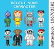 Retro pixel art illustration of various video game style characters. - stock vector