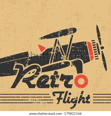 Retro plane emblem - gray grunge silhouette and text on old paper - stock vector